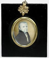 Antique Georgian Era Portrait Miniature, Hand Painted Gentleman in Grisaille