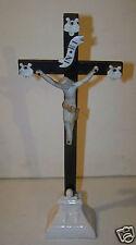 @ CHRIST CROIX CRUCIFIX PORCELAINE ET BISCUIT POIRIER TEINTE NOIRE NAPOLEON III