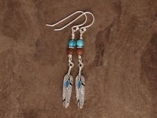 Silver Feather Turquoise/Blue Jasper/Picasso Jasper Earrings 925 Sterling Silver