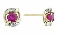 0.24ct Diamond Ruby 14k Yellow Gold Well Crafted Wedding Earrings