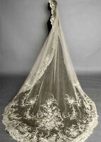 Ivory Wedding Veils Handmade Flower Lace Appliques Long Cathedral Bridal Veil 1T