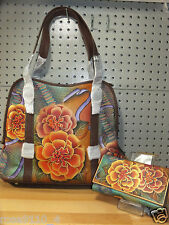 Anuschka Python Bloom Wide Entry Large Tote Shopper Handbag & Clutch  Wallet NWT