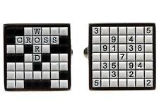 Crossword Puzzle Suduko Cufflinks + Box & Cleaner