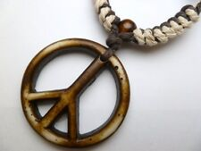 Buffalo Bone White Peace Sign Pendant Adjustable Cord Necklace #30192-23 (QTY 2)
