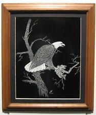 1979 Vintage Yates Scratchboard Wildlife Art Eagle Bass