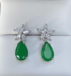 Brazilian Emerald doublet Austrian Crystal 925 Silver floral teardrop earrings