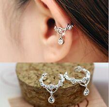 Women fashion Ear Cuff Wrap Rhinestone crystal beaded Clip On Earring silver one