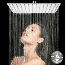 Soffione Doccia Bagno Cascata Quadrato 20x20cm Acciaio 100 Getti Effetto Pioggia