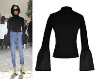 Statement Black Turtleneck Trumpet Flounced Flare Bell Sleeve Knitted Top Jumper