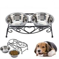 Dogs Bowl Double Drinking Bowls Cat Dog Puppy Pet Water Food Feeder Dish Stand