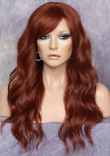 Long Beach Wavy Copper Red Full Wig Heat OK Bangs wig Hairpiece FBW 130