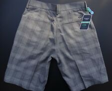 HAGGAR C18 STRAIGHT FIT FLAT FRONT CHECK POLYESTER CASUAL SHORTS SIZE: 30 *NWT*