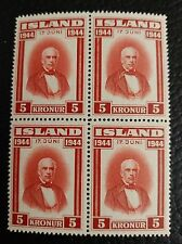 Iceland Sc#244, MNH, OG, Jon Sigurdsson, 1st Republic Issue, 1944, Block of Four