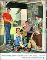 1953 Beer & Ale U.S. Brewer's family ranch porch vintage art Print Ad  adL23