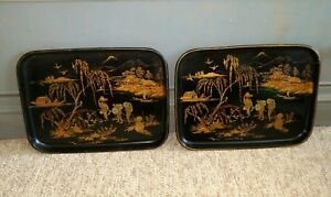 Pair Antique Chinoiserie Paper Mache' Asian Style Trays