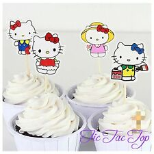 12x Hello Kitty cupcake topper Pick, Party Supplies Lolly Loot Bag Decoration