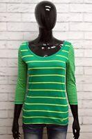 Maglia HOLLISTER Donna Taglia S Maglietta Shirt Woman Cotone a Righe Manica 3/4