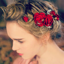 Wedding Bridal Headpiece Red Rose Flower HairAccessories Clip Leaf Jewelry Tiara