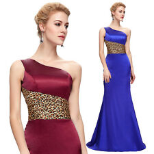Long Satin Mermaid Formal Bridesmaid Club Evening Ball Gown Prom Leopard Dresses