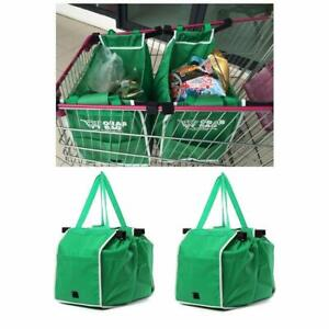 PACK OF 2 Supermarket Shopping Trolley Foldable Reusable Grocery Grab Clips Bag