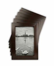 Set of 6, 4x6 Brown Wood Table-Top Picture Frame with REAL GLASS & Easel stand