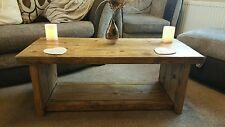 Hand Made Solid Wood Rustic Chunky Coffee Table/TV Unit Oak Effect