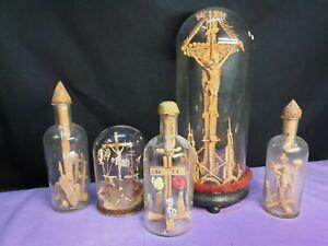 5x EINGERICHT Kreuz Kruzifix in Glasflasche Glassturz aus Kirche sakral church