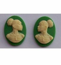 African American Cameo 18x13 Matched Pair Green Resin Cameos  616x
