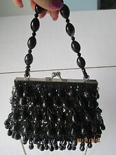 Evening Small Bag w/Black Dangling Beads & Sequins Satin Base w Bead Handle.