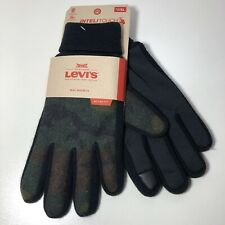 Sz XL LEVIS Mens Stretch Active Fit Intelitouch Gloves Knit Cuff Camouflage Gree