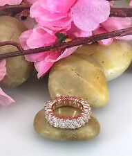Wedding Ring 14k Rose Gold Cubic Zirconia Eternity Band AAA Quality .30