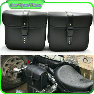 2 PCS Mini Motorcycle PU Saddle Bags Side Storage Tool Hanging Pouch  Waterproof