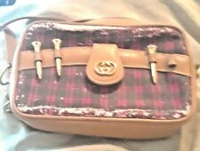 Very Vintage Gucci Monogram Red and Green Golf Tee Bag with 3 Gold Tees- As Is