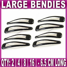 Large BLACK BENDIES HAIR SNAP CLIPS SLEEPY 6.5 cm ladies girls sleepies school