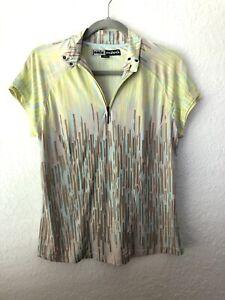 Jamie Sadock Womens Golf Shirt 1/4 Zip Abstract Yellow Beige Size M