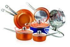 10-Piece Copper Cookware Set Luxury Induction Nonstick Skillet Steamer Sauce Pan