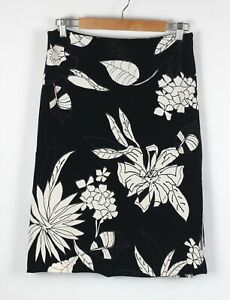 Brown Sugar Womens Skirt Sz 12 A Line Black White Floral Lined Made In Australia