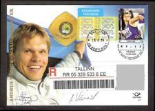 "Autograph Andrus Värnik World Champion on special stationary FDC 2005 ""R"" REGIST"