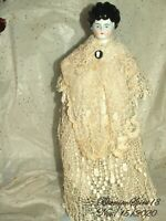 ANTIQUE 1800's Germany CHINA/Porcelain HEAD HANDS LEGS LACE DRESS 14'' DOLL