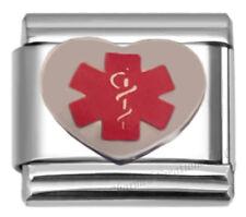 9mm Italian Charm Medical Alert Heart with Caduceus Stainless Steel Modular Link
