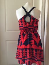 Silence And Noise Sz S Red Blue Geograhic Button Cutout Back Dress