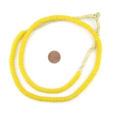 Sunflower Yellow Mini-Disk Sandcast Beads 7mm Ghana African Glass Large Hole