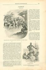 L'escamoteur Carrosse Brebis Village France GRAVURE ANTIQUE OLD PRINT 1892