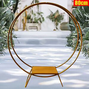 80cm Large Floral Hoop Backdrop Rack Wedding Arch Stand for Cake DISPLAY Gold