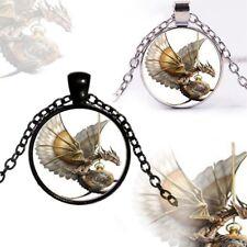 1X Neu Retro Steampunk Drachen Foto Cabochon Glas Bronze Anhänger Halskette Hot