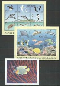 [MAL] MALDIVES 1999 FISH AND MARINE LIFE, BIRDS.. SET OF 2 SHEETS OF 9 + S/S.