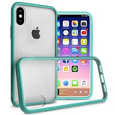 Clear w/ Teal Rim Slim Fit TPU Bumpers Cover Phone Case for Apple iPhone XS / X