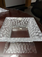 Lalique French Crystal Roses Large Square Bowl -  Box Signed