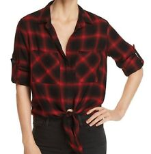 NEW CLOTH & STONE WOMEN SzXS TIE FRONT PLAID LONG SLEEVE TOP BLOUSE IN RED/BLACK