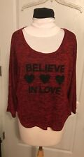 Womens Almost Famous Top Blouse SZ L Black Red Lacy Stretchy Believe In Love